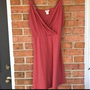 Mossimo burnt orange surplice ribbed dress